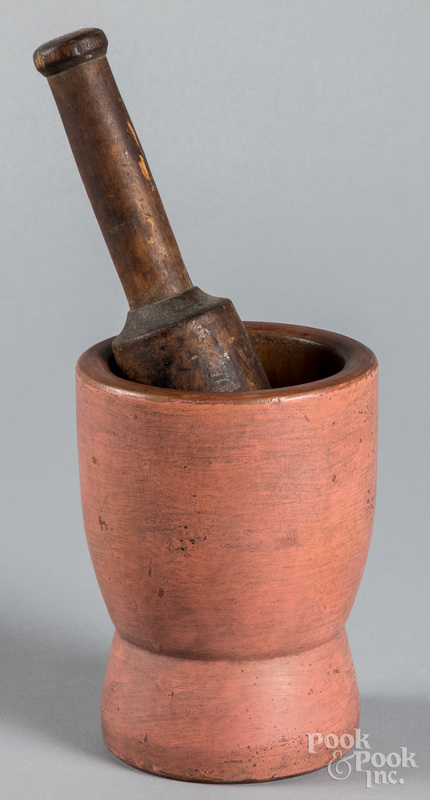 Painted mortar and pestle, 19th c.
