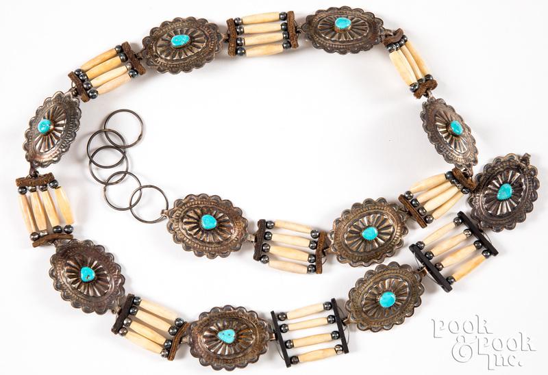 Sterling silver Native American concha belt