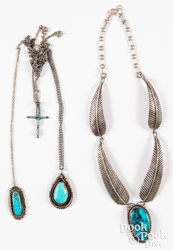 Four Native American silver and turquoise pendant