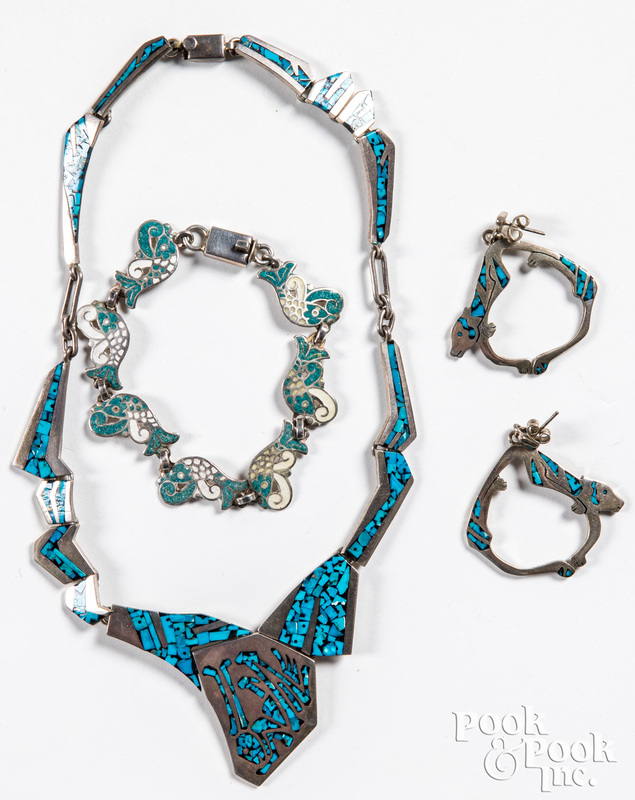Silver and turquoise Mexican necklace & earrings
