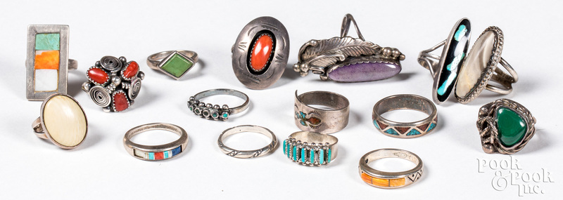 Group of Native American Indian silver rings