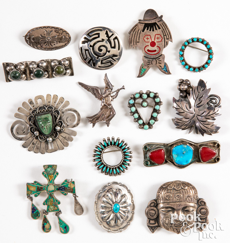 Native American Indian & Mexican pins & brooches