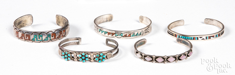 Three Native American Zuni silver bracelets