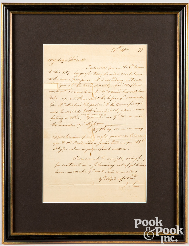 Revolutionary War letter, dated 18th, April, 1777