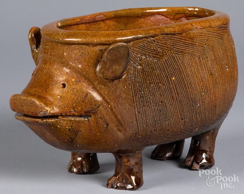 Redware pig planter