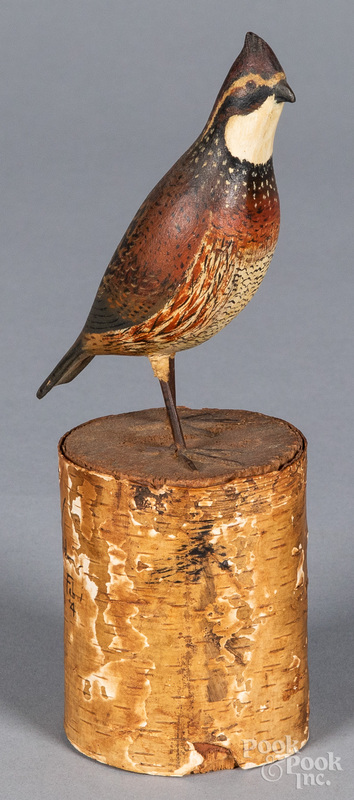 Pennsylvania carved and painted miniature quail
