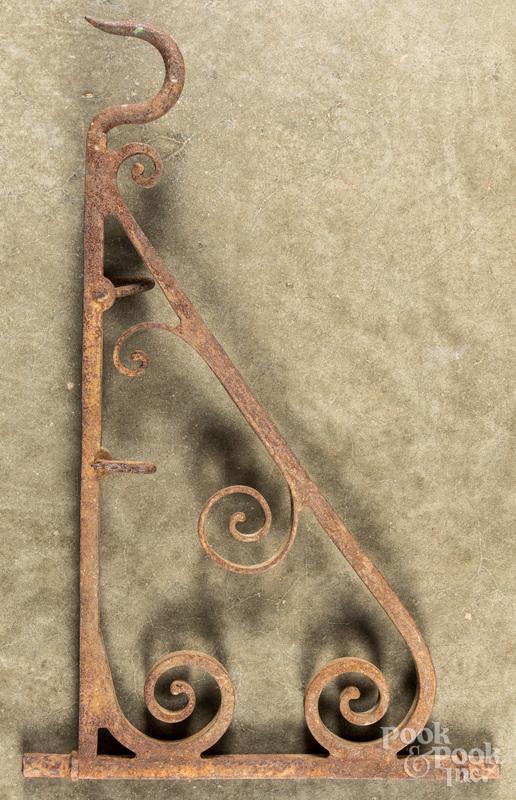 Wrought iron fireplace crane, 19th c.