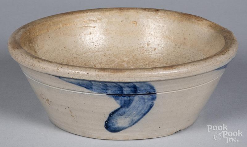 Pennsylvania stoneware milk pan, 19th c.