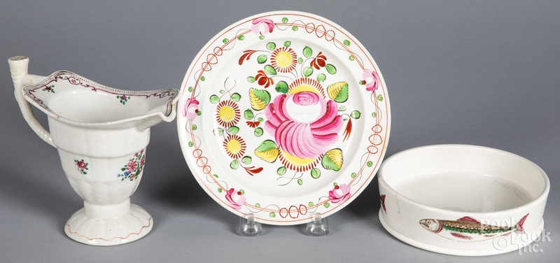 Pearlware char dish, together with a plate
