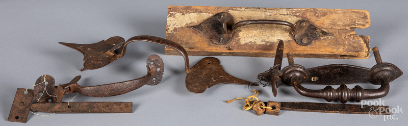 Four wrought iron thumb latches, 18th/19th c.