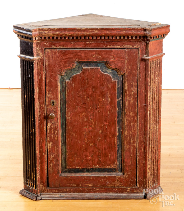 Continental painted pine hanging corner cupboard