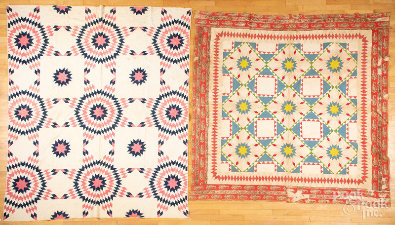 Two pieced and appliqué quilts 19th c.
