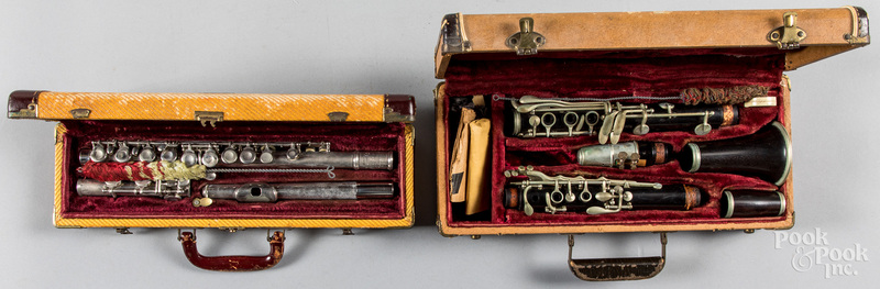 Cased Bundy flute, together with a German clarinet