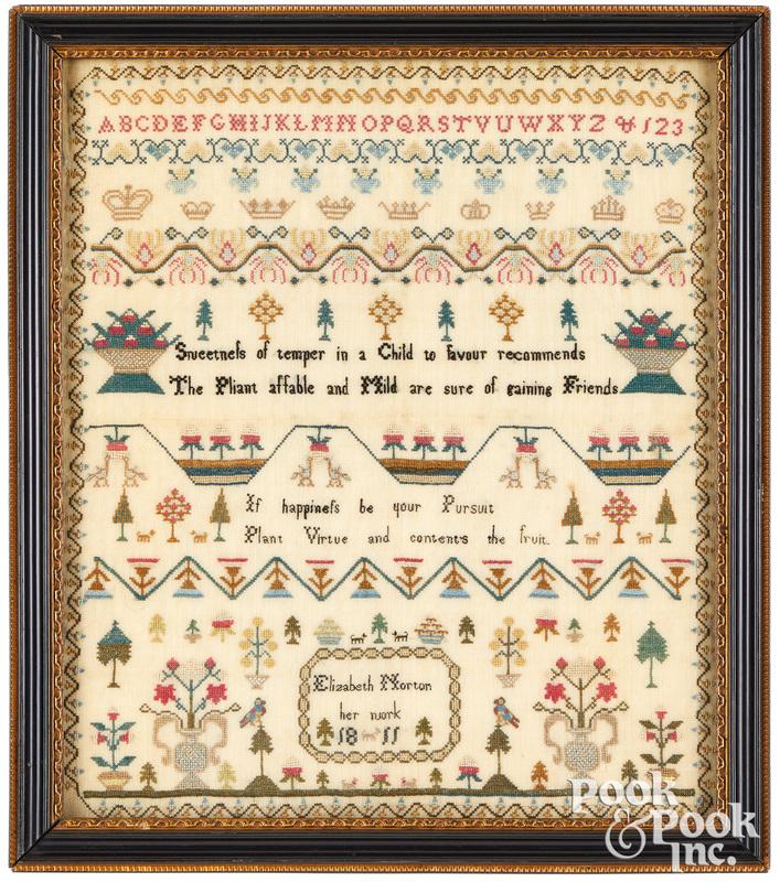 Fine English silk on linen sampler, dated 1811