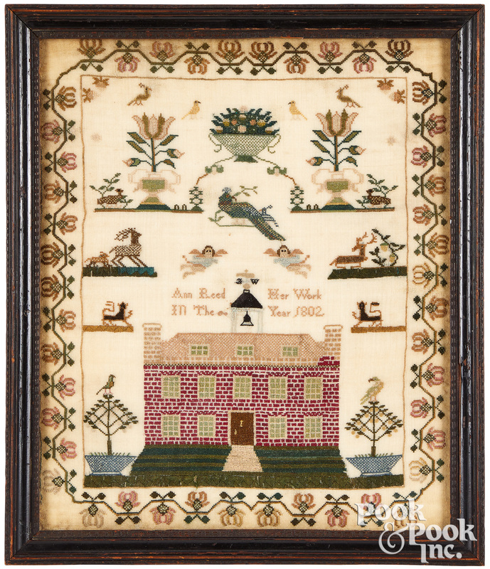 English silk on linen sampler, dated 1802