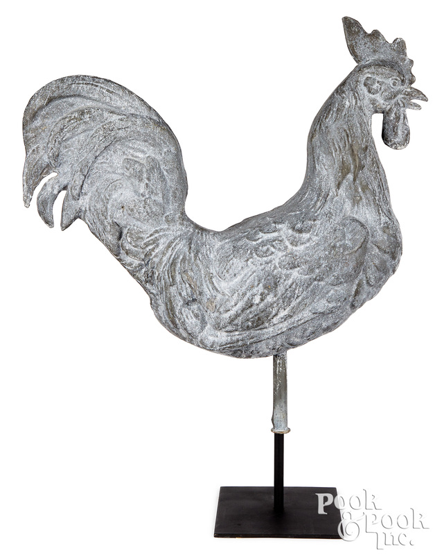 Full bodied zinc rooster weathervane, late 19th c.