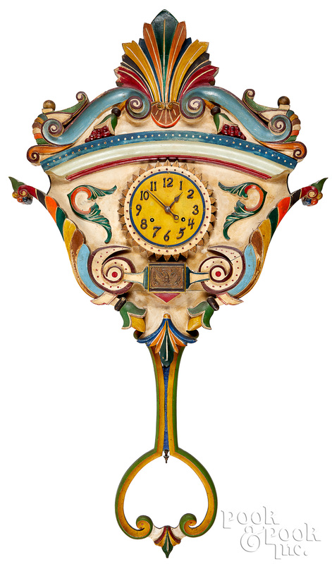 Carved and painted folk art carousel clock
