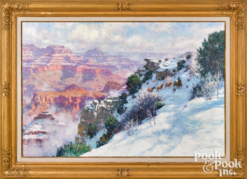 Karl Thomas oil on canvas Western landscape