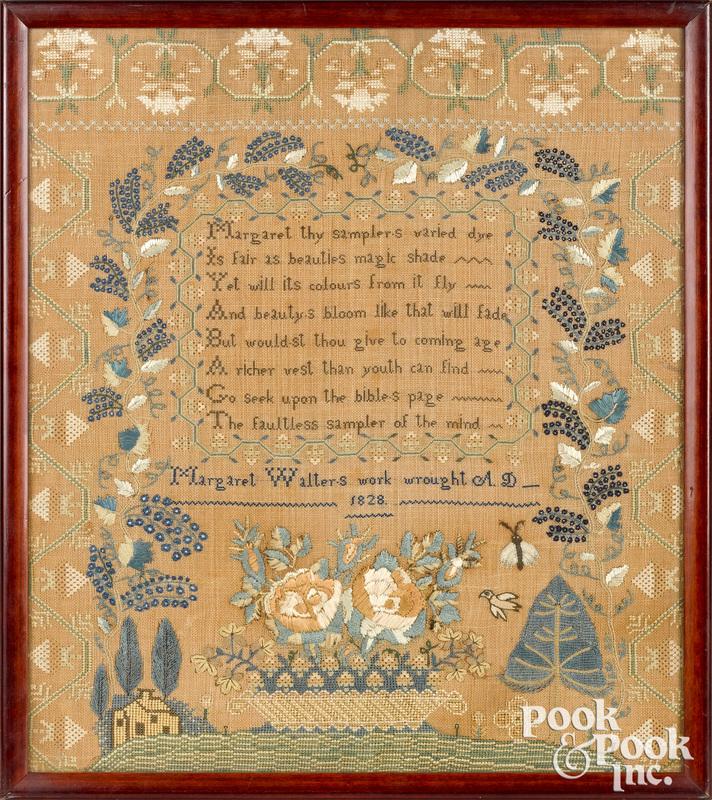 American silk on linen sampler, dated 1828