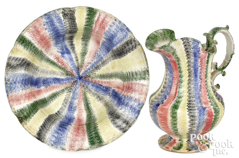 Five color rainbow spatter pitcher and basin