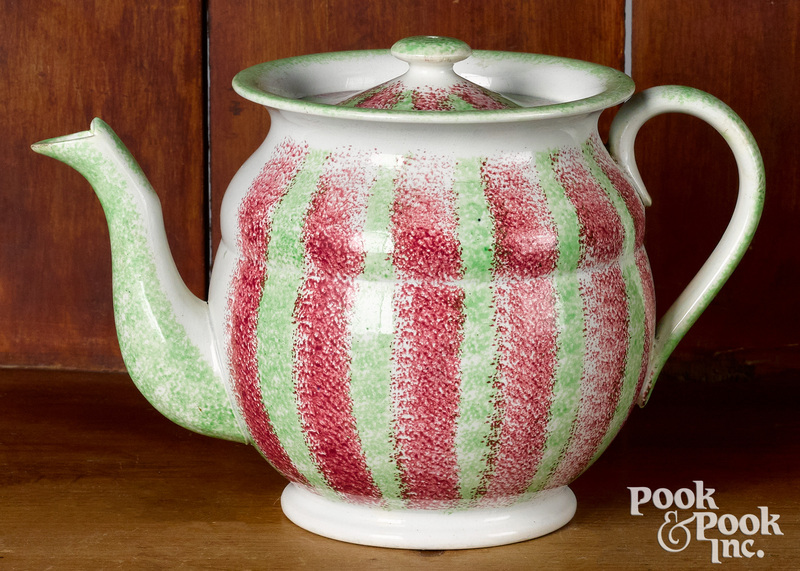 Red and green rainbow spatter teapot