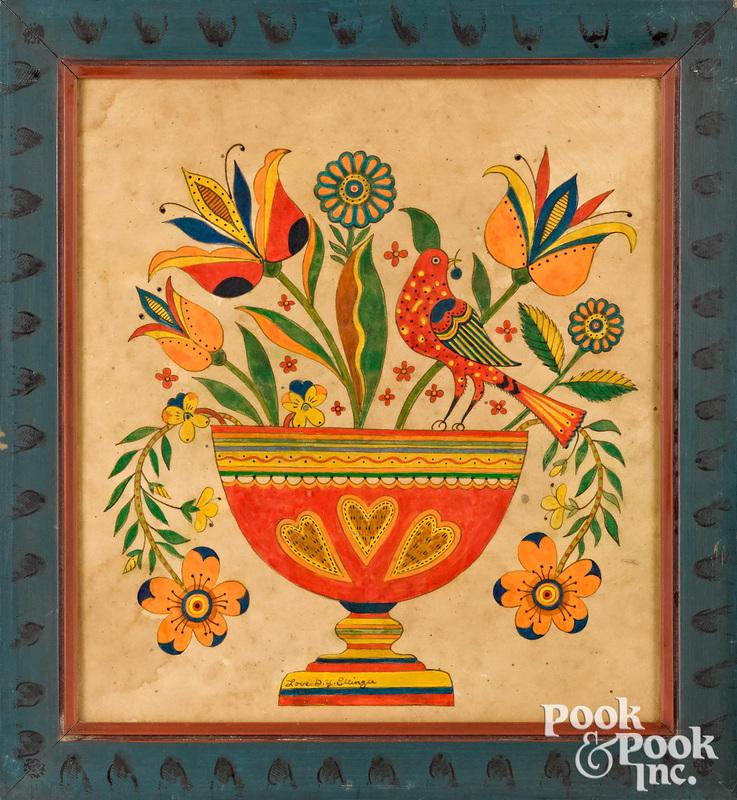 David Y. Ellinger watercolor urn of flowers