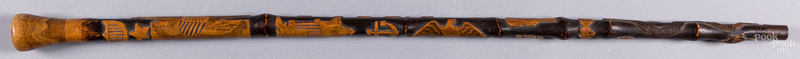 Relief carved folk art walking stick, late 19th c.
