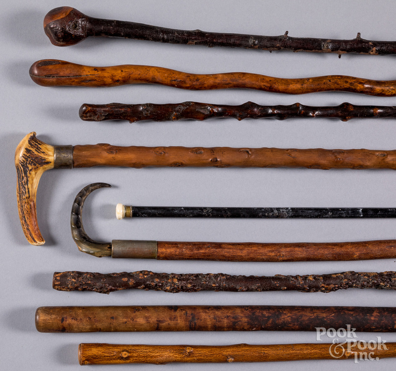 Collection of nine walking sticks, 19th c.