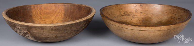 Two large turned wooden bowls, 19th c., largest -