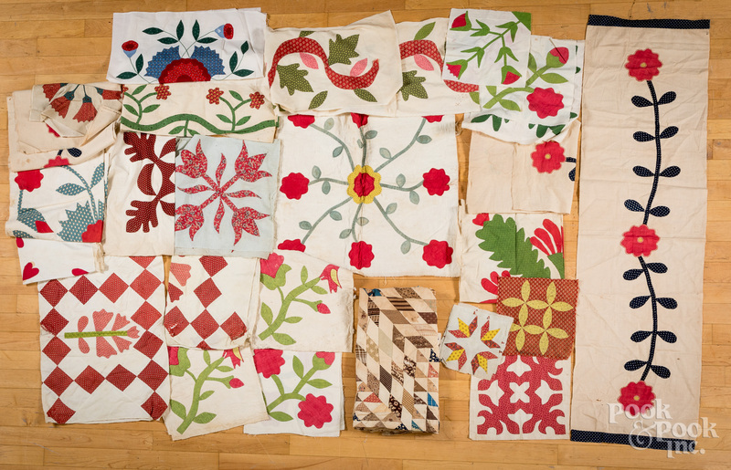 Group of quilt patches and panels, etc.