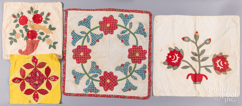 Four Pennsylvania pillow covers, 19th and 20th c.