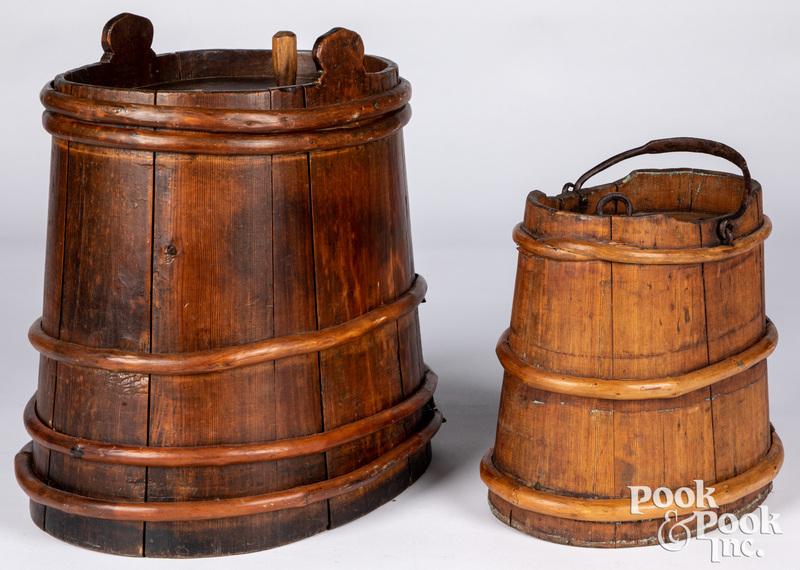 Two Scandinavian wood buckets, 19th c.