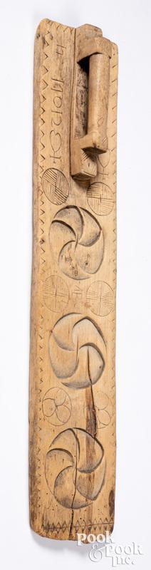 Scandinavian carved mangle board, 18th c.