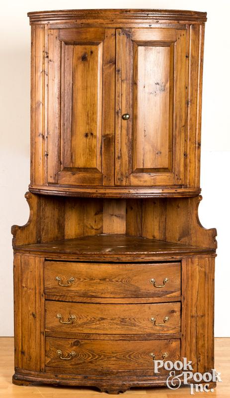 Scandinavian pine two-part corner cupboard