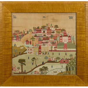 Montgomery County, Pennsylvania Schwenkfelder wool needlework townscape, dated 1855