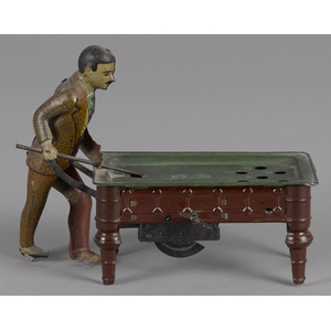 German tin lithograph clockwork billiards player,