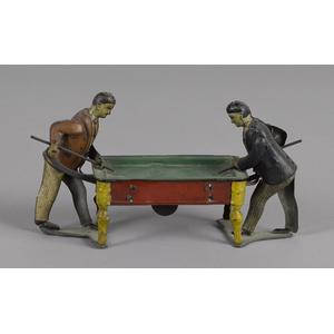 German tin lithograph clockwork billiards playersi