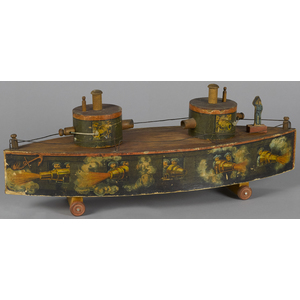 Bliss paper lithograph over wood Monitor warship,5
