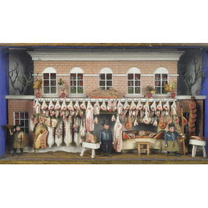 Elaborate English butcher shop diorama window disp