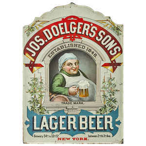 Jos. Doelger's Sons Lager Beer tin lithograph adve
