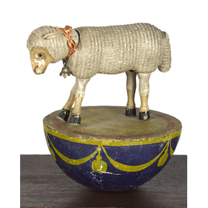 Rare Schoenhut half rolly dolly sheep with glass e