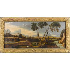 English oil on panel overmantel landscape, ca. 180