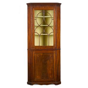 Diminutive George III mahogany corner cupboard, la