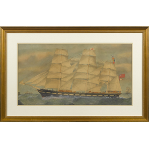 English watercolor and gouache ship portrait of th