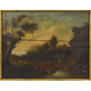 English oil on panel overmantel landscape, 19th c.