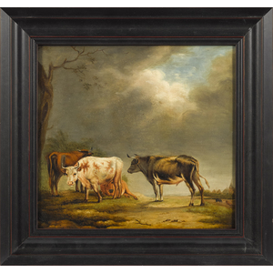 Continental oil on board landscape, 19th c., witho