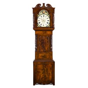 Welsh mahogany tall case clock, early 19th c., the