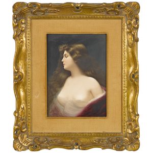 KPM porcelain plaque of a young maiden, signed F.