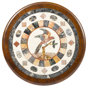 Pair of Italian mahogany center tables with mosaic