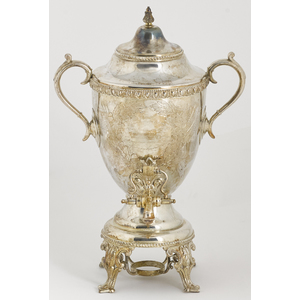 Civil War silver-plated presentation hot water urn